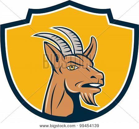 Mountain Goat Head Shield Cartoon