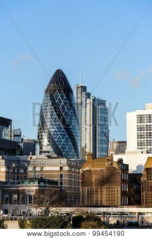 The Gherkin building in London, UK