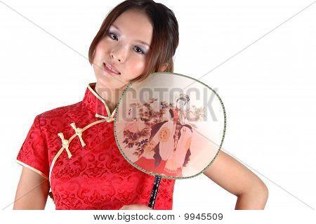 Asian Model With Fan