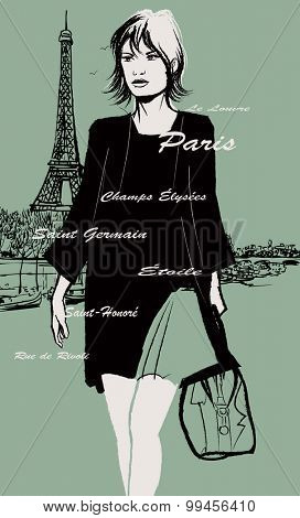 Woman in black dress carrying travel bag with the Eiffel tower on the background - vector illustration