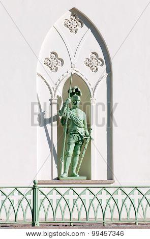 Tsarskoye Selo (Pushkin). Saint-Petersburg, Russia. The Englis knight on the facade of the White Tow