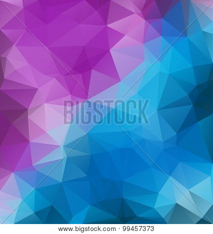Low Poly triangular background for your retro flyer, stylish brochure, poster.