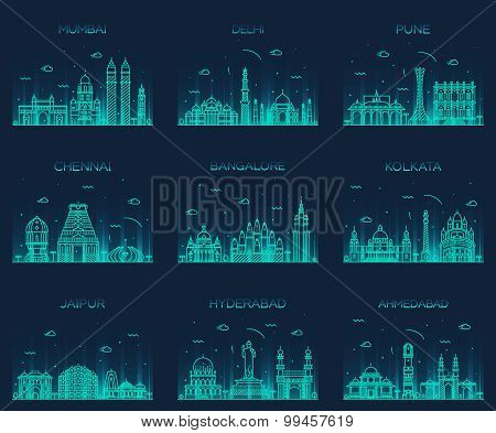 Set Indian skylines Mumbai Delhi Jaipur Kolkata