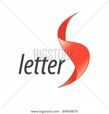 Vector Logo Letter S In The Form Of Red Tape