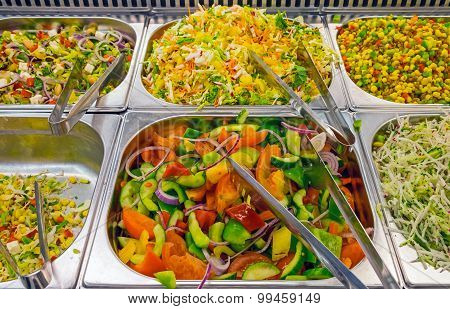 Colorful salads at a buffet