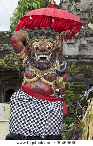 Closeup Of Traditional Balinese God Statue. Bali Temple. Indonesia