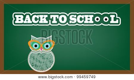 Owl with cateye glasses - text Back To School with eyes for the o