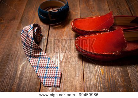 Men's Set : Shoe, Belt, Tie