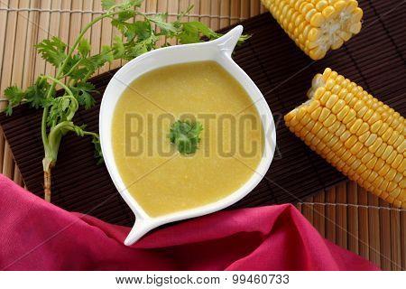 Corn Soup Is Vegetarian Food.