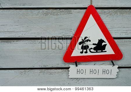 Give Way Traffic Sign With Santa