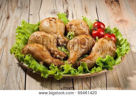 Baked Chicken Legs On Plate