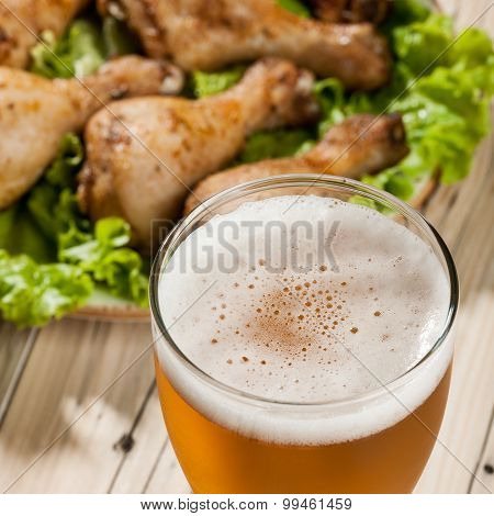Light Beer And Baked Chicken Legs
