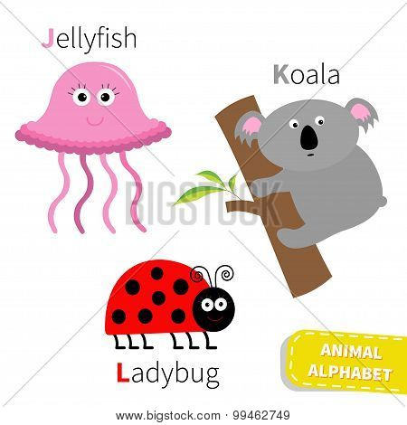 Letter J K L Jellyfish Koala Ladybug Zoo Alphabet. English Abc With Animals Education Cards For Kids