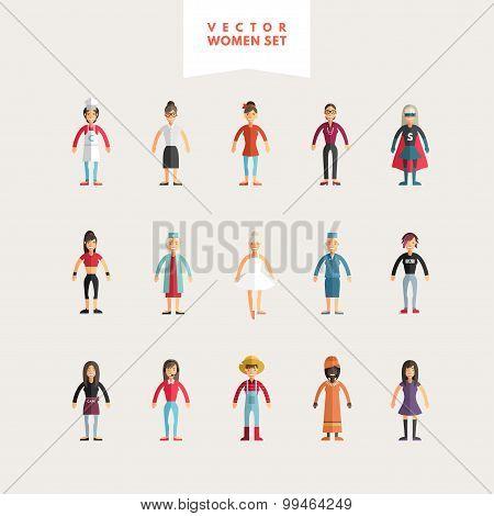 Set Of Flat Design Professional People Characters. Women Set. Cook, Teacher, Superwoman, Doctor, Dan