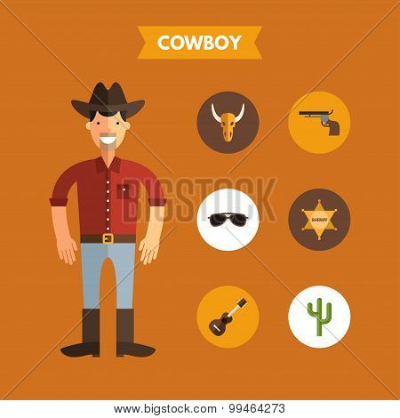 Flat Design Vector Illustration Of Cowboy With Icon Set. Infographic Design Elements