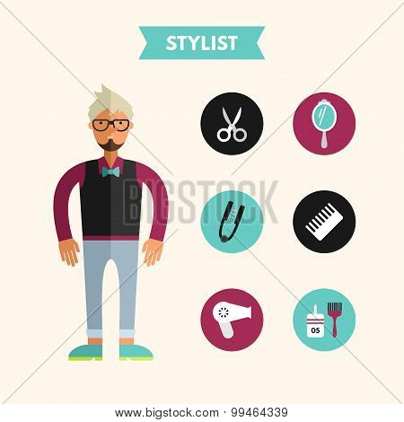 Flat Design Vector Illustration Of Stylist With Icon Set. Infographic Design Elements