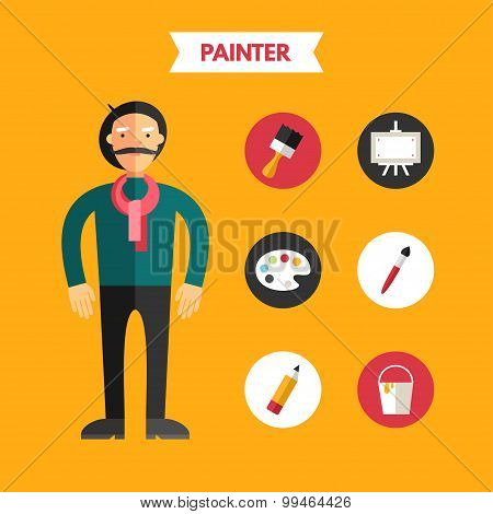 Flat Design Vector Illustration Of Painter With Icon Set. Infographic Design Elements