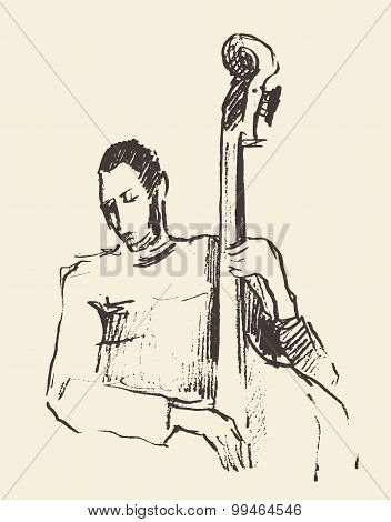 Jazz poster double bass music acoustic consept