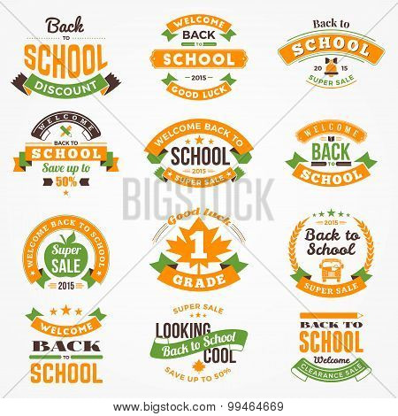 Back To School Vector Design Collection. Retro Vintage Style Badge And Labels
