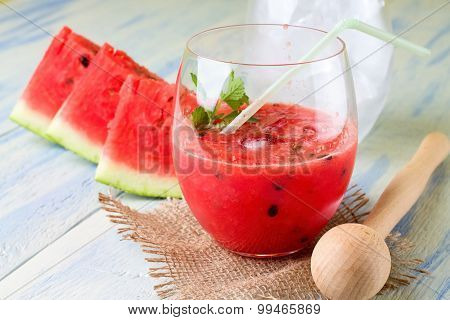 Water Melon Smoothie In A Glass On Burlap