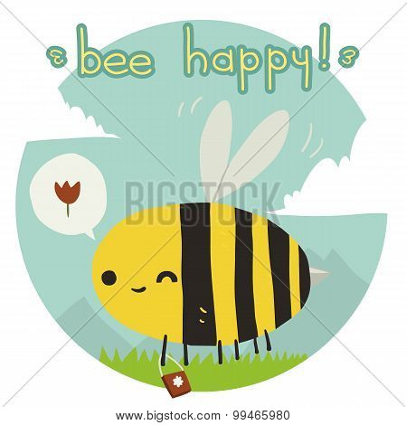 Cartoon funny bee happy flat icon.
