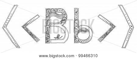B Greater Less Dragonfly Vanda Freehand Pencil Sketch Font