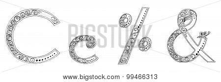 C And Percent Symbol Vanda Freehand Pencil Sketch Font