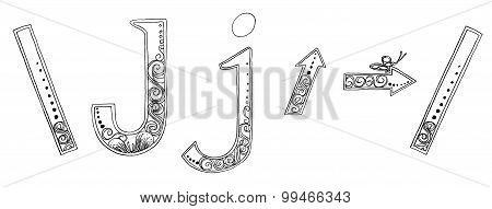 J Arrow Symbol Venda Freehand Pencil Sketch Font