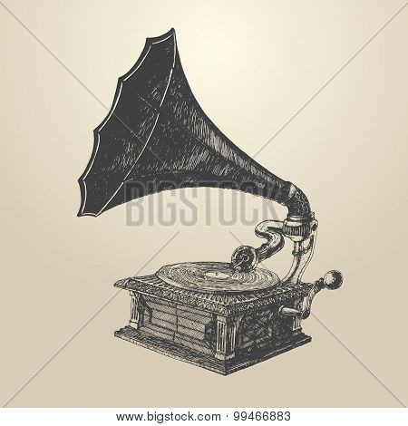 Phonograph - vintage engraved illustration, retro style, hand drawn