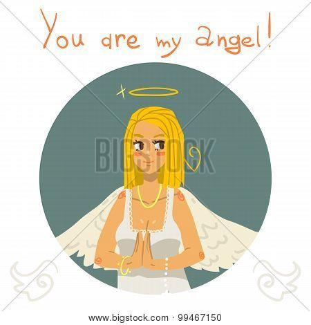 You are my angel girl cartoon greeting card.