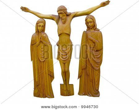 Wooden Orthodox Religion Bas-relief Isolated Over White
