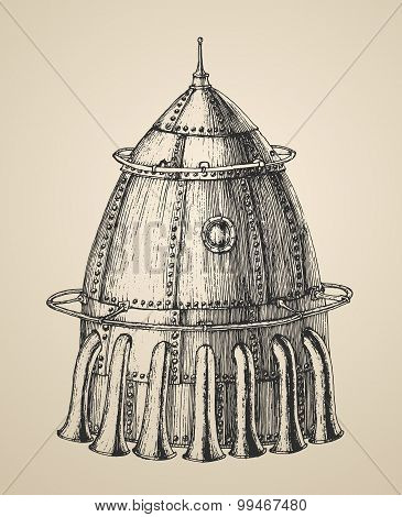 Spaceship illustration of a rocket ship in a vintage retro style, engraved illustration, hand drawn