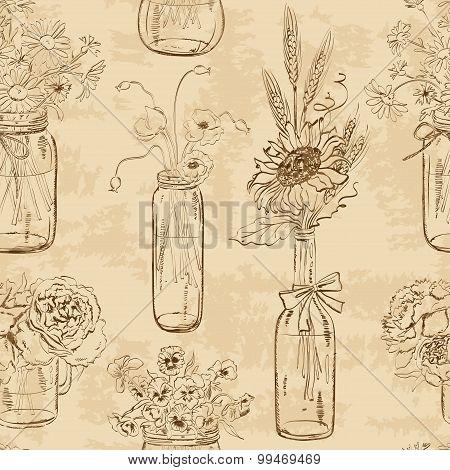 Seamless Pattern Of Mason Jars With Flowers.