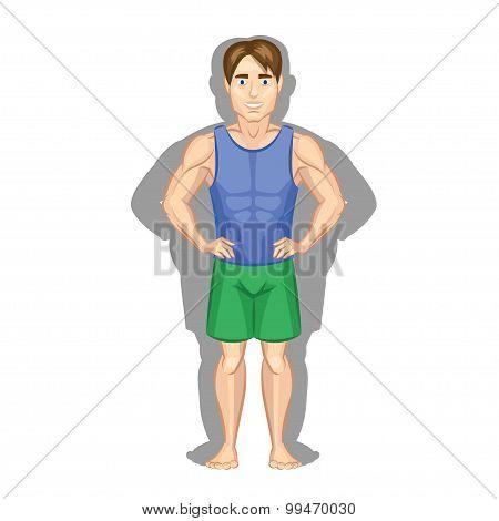 Fat And Slim Man. Vector Illustration.