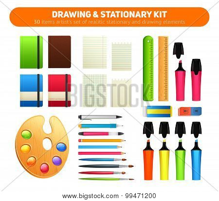 Stationary Kit Of Supplies For Drawing And Writing
