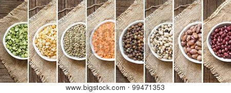 Collage Of Legumes In Bowls