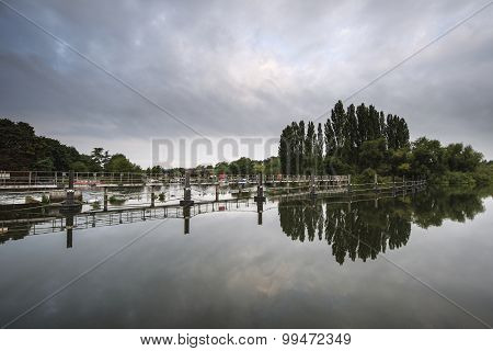 Dawn Landscape Chertsey Lock And Weir Over River Thames In London