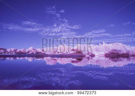 Infrared landscape of lake in Summer sunset