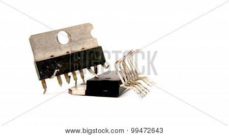 Technology  Concept . Damagaed Processor Unit