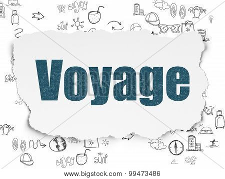 Vacation concept: Voyage on Torn Paper background