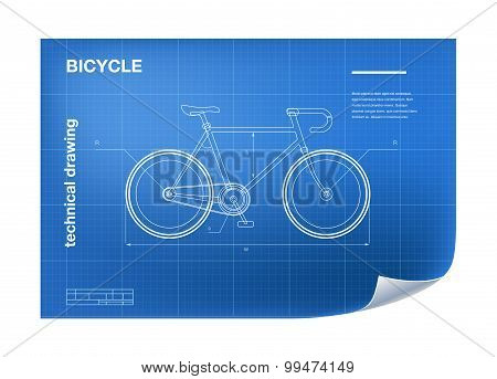 Technical Illustration with bicycle drawing
