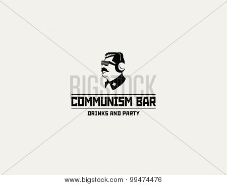 Communism style logo restaurant bar design vector template