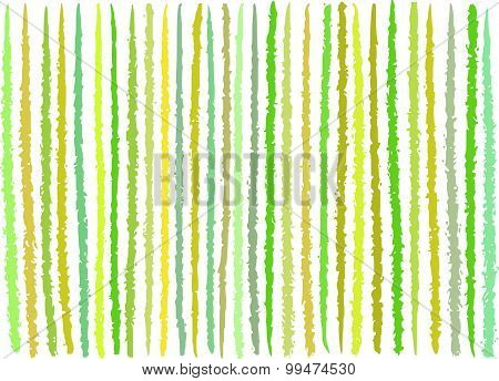 Irregular Green Yellow Lines Pattern Over White