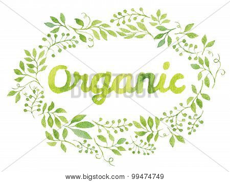 Word Organic in Green Leaves Watercolor Wreath