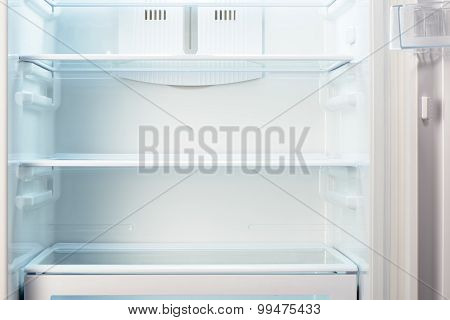 White open empty refrigerator