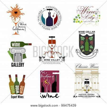 Set of wine, wine exhibition, wine festivals, restaurants and wine shops logos