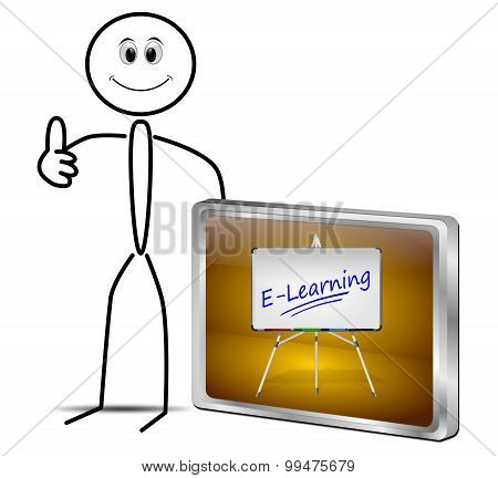 Stickman with E-Learning Button