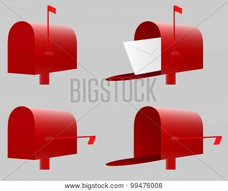 Red Mailbox. Vector. EPS10.