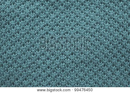 Knitted Honeycomb Texture Of Blue Green Color