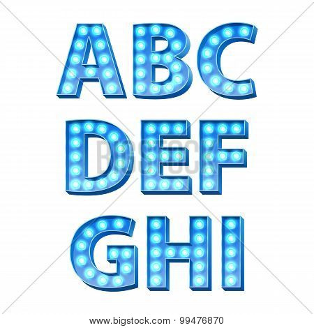 Blue bulbs lamps light glowing letters set.